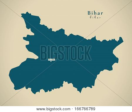 Modern Map - Bihar In India Federal State Illustration