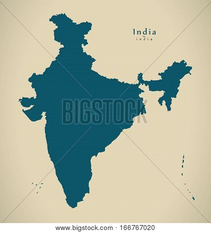 Modern Map - India Country Mainland Illustration