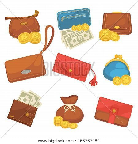 Icons set of wallets with money shopping. Purse with cash. Business and finance symbols. Vector illustration in cartoon style. Isolated on black background
