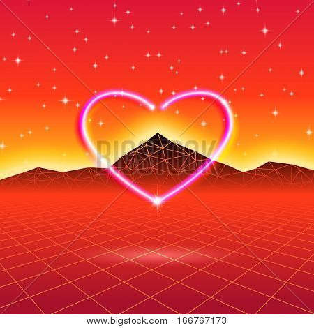80s styled retro futuristic card with neon heart