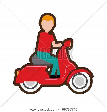 cartoon delivery boy riding scooter vector illustration eps 10