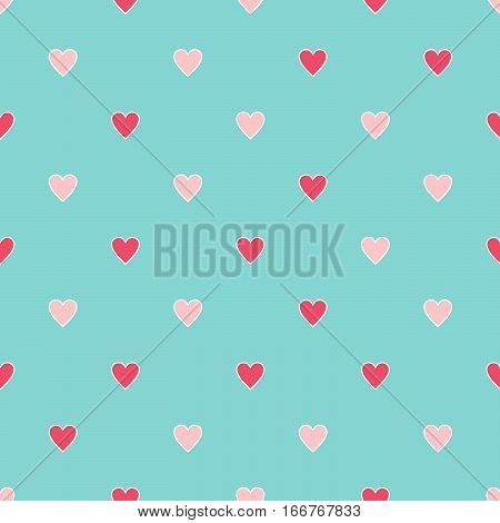 Retro seamless pattern with colorful hearts. Valentine's Day background.