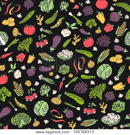 Hand drawn vegetables vector seamless pattern in flat style. Unique organic food pattern can be used for wrapping paper bioproducts wallpaper organic background