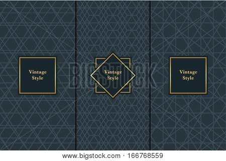 Vintage pattern on black background. Seamless pattern with golden frame for design in retro style. Universal pattern for wallpapers textiles fabrics wrapping papers packaging boxes etc