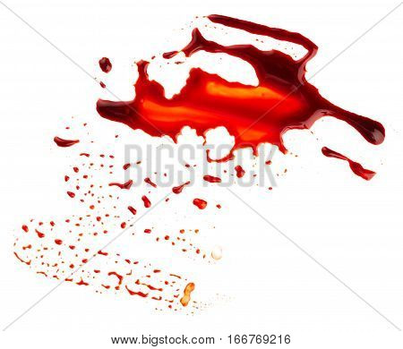 Bloodstain isolated on the white background. Horror