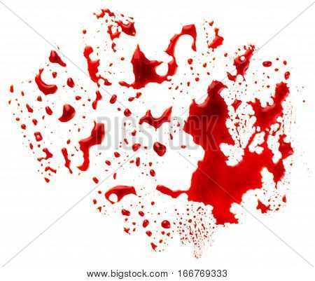 Bloodstains isolated on white background. Bloody blots