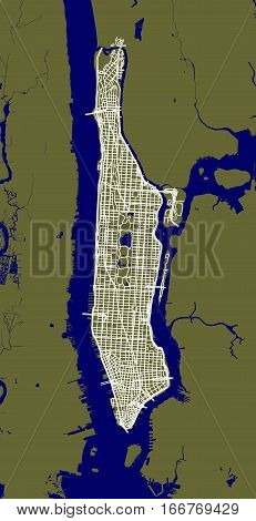 Fragment of New York City outline map with streets of Manhattan.