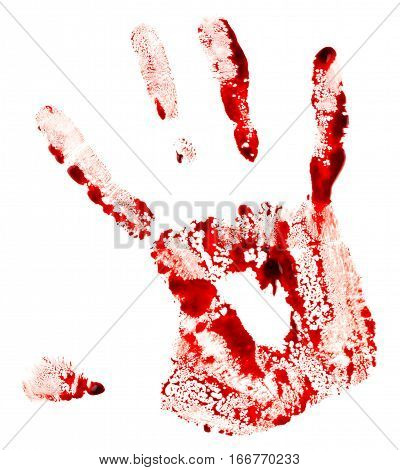 Bloody handprint isolated on the white background