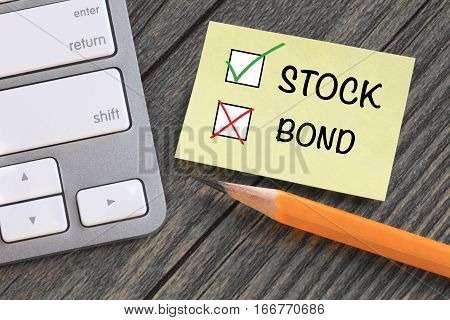 choosing stock instead of bond, investment concept