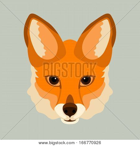 fox face vector illustration style Flat front