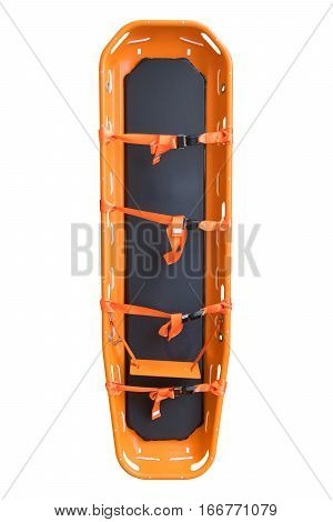 General stretcher for emergency paramedic service for carrying patient in emergency case, Emergency medical equipment in ambulance isolate on white