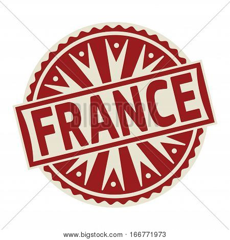 Stamp label or tag business concept with the text France vector illustration.