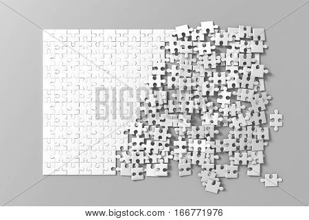 Blank white unfinished puzzles game mockup connecting together 3d rendering. Clear jigsaw pieces merging design mock up. Big desktop toy template.