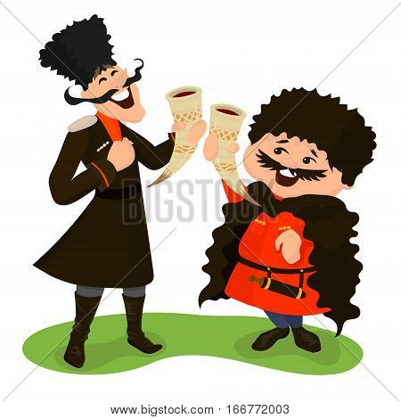 Two happy cossacks with wine horns. Vector illustration isolated on white. Cute cartoon characters in flat style