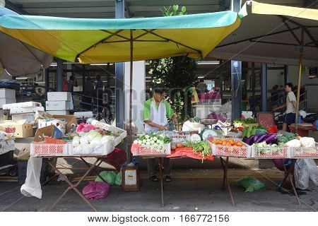 Various Kind Of Vegetable On Sale At Local Wet Market