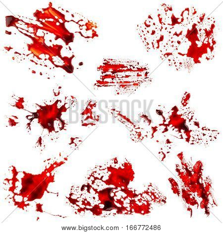 Set of bloodstain isolated on white background