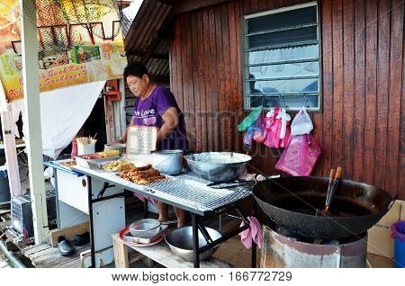 Roadside Stall Selling Lor Bak Or Five Spice Pork Roll At Penang