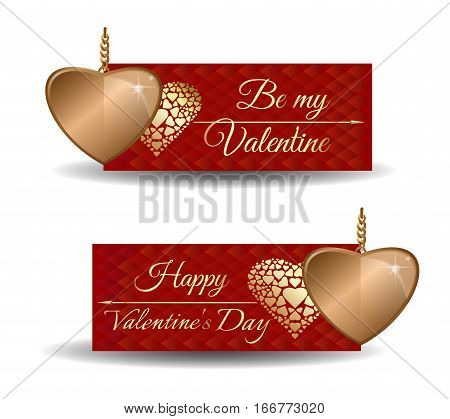 Be my Valentine. Happy Valentine's Day. Valentine's banners. Vector set trendy banners for Valentine's Day with cute red greeting card and golden hearts