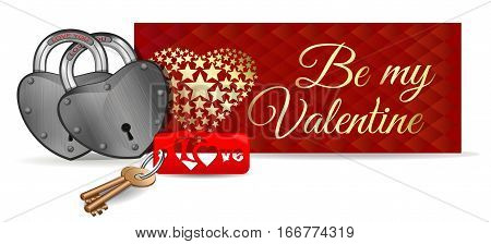 Valentine's Day card. Padlocks on the background of a greeting card. Pair of locks, keys and key ring. Be my Valentine. Love You. Locks for couples. Vector illustration