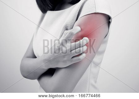 itching woman, Have a itching on gray background