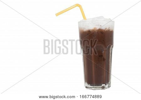 Iced cocoa with Tube watch yellow  isolated  on white background.