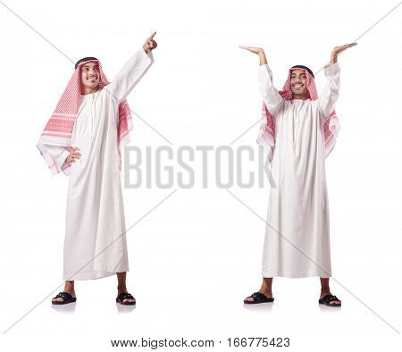 Arab man pushing virtual obstacle on white