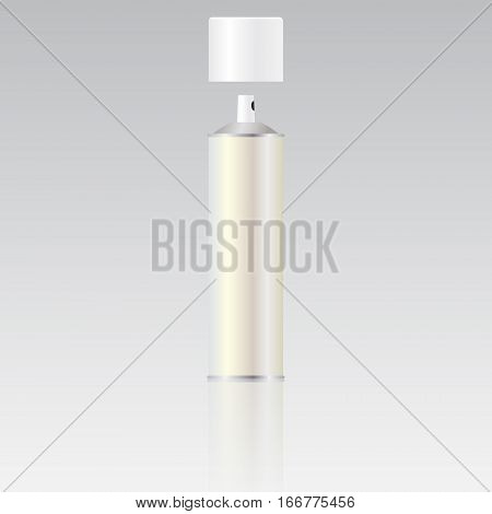 Metal bottle with sprayer cap for cosmetic perfume deodorant or freshener or hairspray. Packaging. Blank spray bottle for template. Vector image.