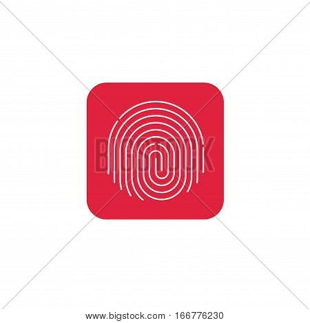 Fingerprint icon vector, round shaped fingerprint on red color button background
