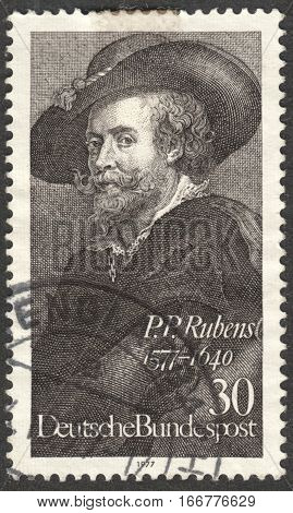 MOSCOW RUSSIA - CIRCA DECEMBER 2016: a post stamp printed in GERMANY shows the self-portrait P. P. Rubens dedicated to the 400th Anniversary of the Birth of P. P. Rubens circa 1977