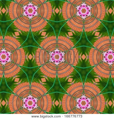 Kaleidoscope pink flower and green leaf on brick background