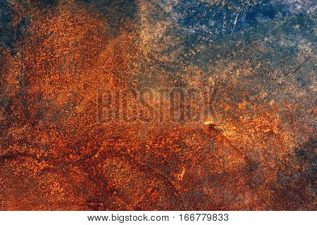 Corroded industrial background rusty metal plate surface texture top view