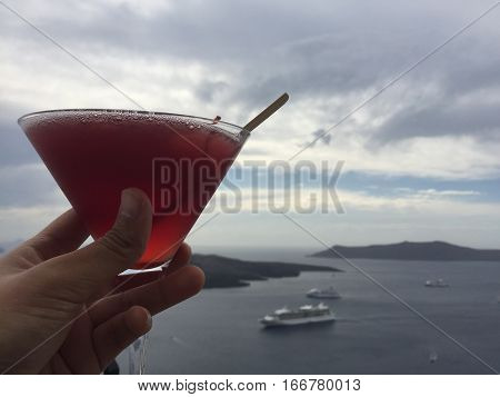 Santorini Greece Drink Romantic Weeding Honeymoon Island Love Sea
