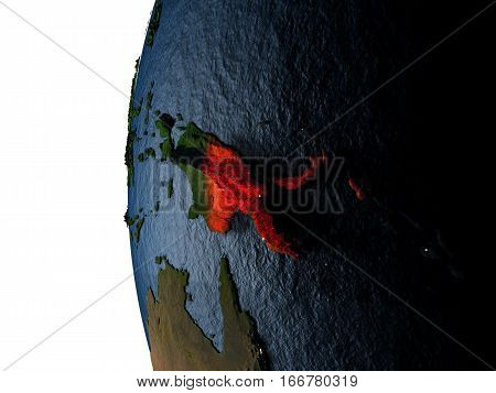 Sunset Over Papua New Guinea From Space