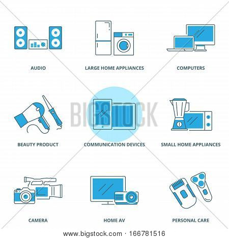 Large and small home appliances, electronic devices vector icons set