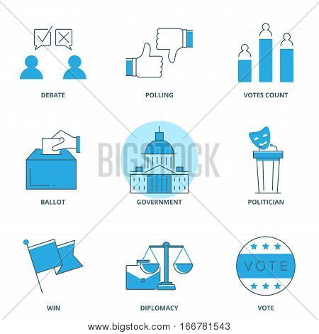 Politics and election vector icons set line style