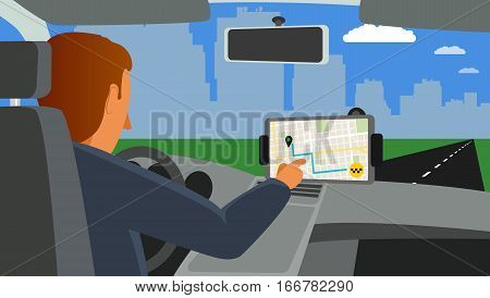 Person in car using app taxi on screen and map on multimedia system