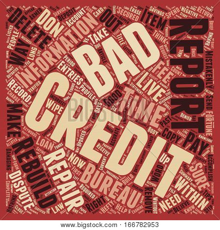How To Wipe Out Bad Credit And Rebuild Your Credit Report text background wordcloud concept