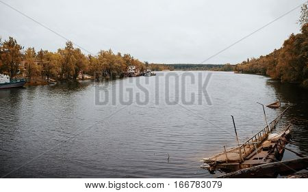 Abandoned Ferry On Pripyat River At Chernobyl, Ukraine.