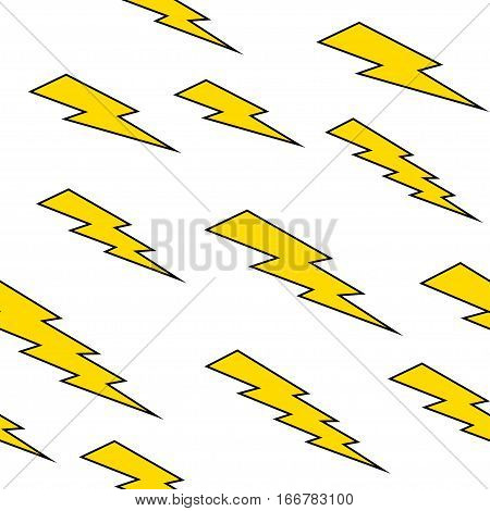 Seamless pattern with thunderbolt, vector lightning background