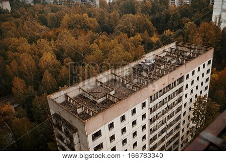 Aerial Panorama View Of Chernobyl Exclusion Zone With Ruins Of Abandoned Pripyat City Zone Radioacti