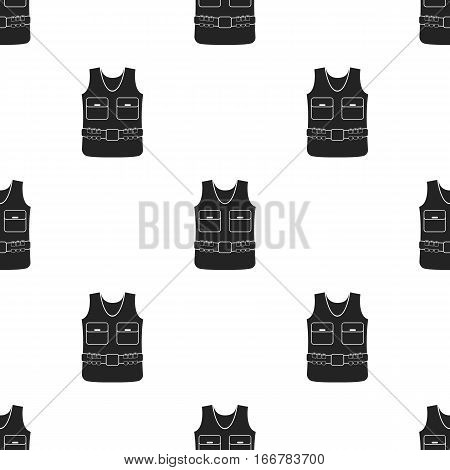 Hunting vest icon in black style isolated on white background. Hunting pattern vector illustration.
