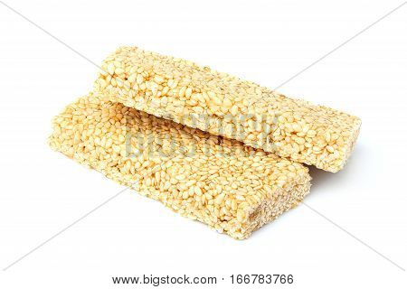 Bar sesame seeds isolated on a white background.