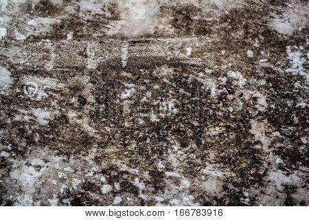 Asphalt, asphalt covered with ice and snow, asphalt texture