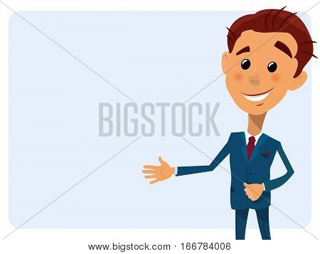 Cartoon close-up vector illustration young businessman pointing to the lateral text space