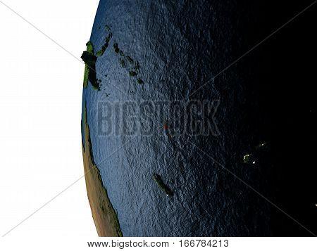 Sunset Over Vanuatu From Space