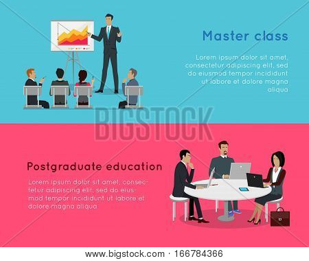 Master class and postgraduate education banners. Professional growth in successful team work. Business education infographic. Presentation data and information, chart for study. Vector illustration