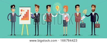 Business people concept vector in flat style. Collection of office situations and people work interactions. Making ideas, concluding deal, planing, assessment results illustrations corporate ad.