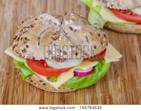 Vegetarian wholemeal sandwich with tasty vegetables, copy space