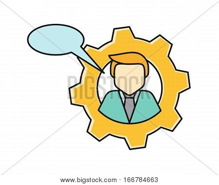 Young man private icon with dialog window. Young blond man in blue shirt and tie. Avatar in gear. Social networks business private users avatar pictogram. Round line icon. Isolated vector illustration