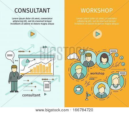 Management consulting and workshop banners. Team building, workshop, develop ability, business people teamwork, personal development growth, team leader, business consulting, business strategy concept